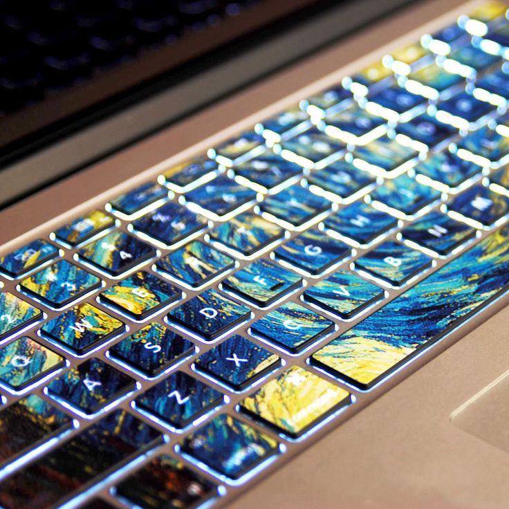 Van Gogh's Starry Night-Pervious to light-Macbookdecal Macbook Keyboard Decal/Macbook Pro Keyboard Skin/Macbook Air Sticker