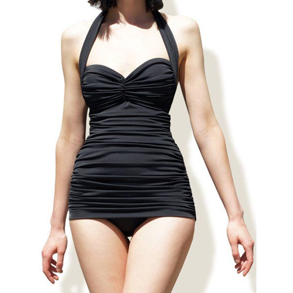 $19.34 Sexy Halter Ruffled Solid Color One-Piece Women's Swimwear