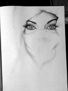 White Niqab Gaze (Pencil Drawing) | Quotes, Posters, Drawings, Calligraphy, and Photos