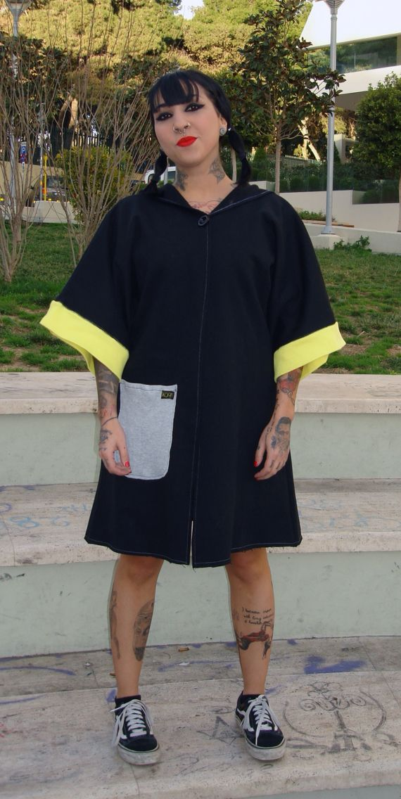 Black sweatshirt jacket with yellow sleeve details Kimono robe inspired