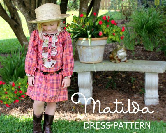 Matilda - Girl's Peasant Dress PDF Pattern, Girl's Long Sleeved Sewing Pattern.Tutorial  Sizes 12m-10 included