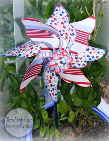 Check out Therese's Patriotic Pinwheel!  Beautiful!  There are so many ways to use this free DELUXE PINWHEEL SVG KIT!  Enjoy a family picnic and let the kids have fun playing with them!  Make some for a baby shower or use in a centerpiece with flowers.  Pick yours up here: http://svgcuts.com/blog/2010/05/03/free-svg-file-sure-cuts-a-lot-05-03-10-deluxe-pinwheel/