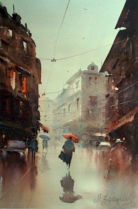The Rain in Dusan Djukaric's Watercolors