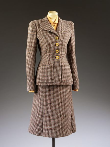 Autumn 1942, England - Suit from the Utility Collection by the Incorporated Society of London Fashion Designers for the Board of Trade - Scottish woollen tweed