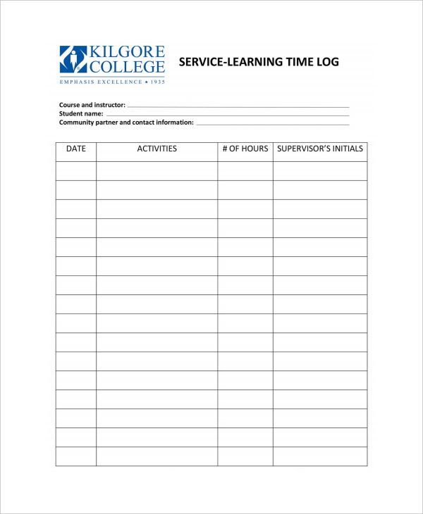 Daily Work Log Templates Learning Time Date Activities Words
