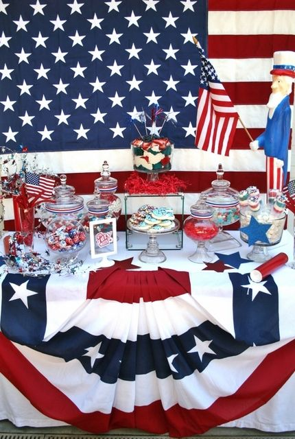 4th of July Dessert table - Yummo!  Party table by Bash Party Styling  https://www.facebook.com/BashCandyDessertBuffets