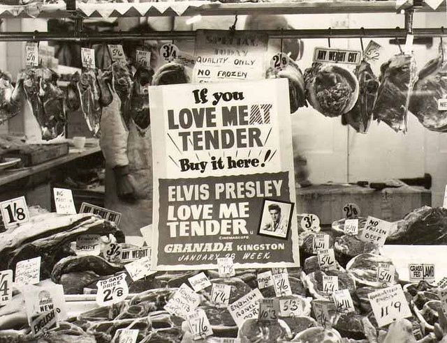 A carnivorous caper promoting the 1956 Elvis Presley film Love Me Tender. From BFI Special Collections.