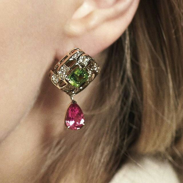 Boodles 'Prism' earrings featuring sweetie-coloured peridots and tourmalines.