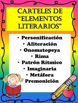 This product is completely in SPANISH and contains anchor charts/posters in regards to ALL Element Literary charts in SPANISH.  These posters can be used as a guide to help students remember all the elements in poetry.  This also can be used in the students interactive notebook as a reminder of all the elements in poetry.UPDATED:  A different font option is added.This products contains all the following:  Personificacin  Aliteracin  Onomatopeya  Rima  Patrn Rtmico  Imaginaria  Metfora…