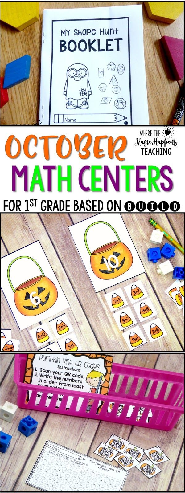 First Grade BUILD Math centers. These October math centers contain grade level practice for the following concepts: place value, geometry, number sense, CGI word problems, addition and subtraction, understanding number bonds, and ten frames, as well as missing number in addition and subtraction situations.