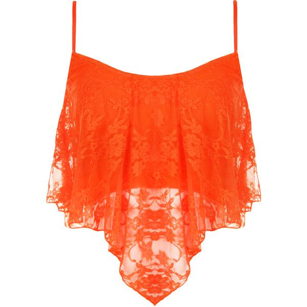 Natalia Lace Camisole Crop Top ($17) ❤ liked on Polyvore featuring tops, shirts, crop top, tank tops, fluorescent orange, strappy crop top, stretch lace top, neon shirts и floral crop top