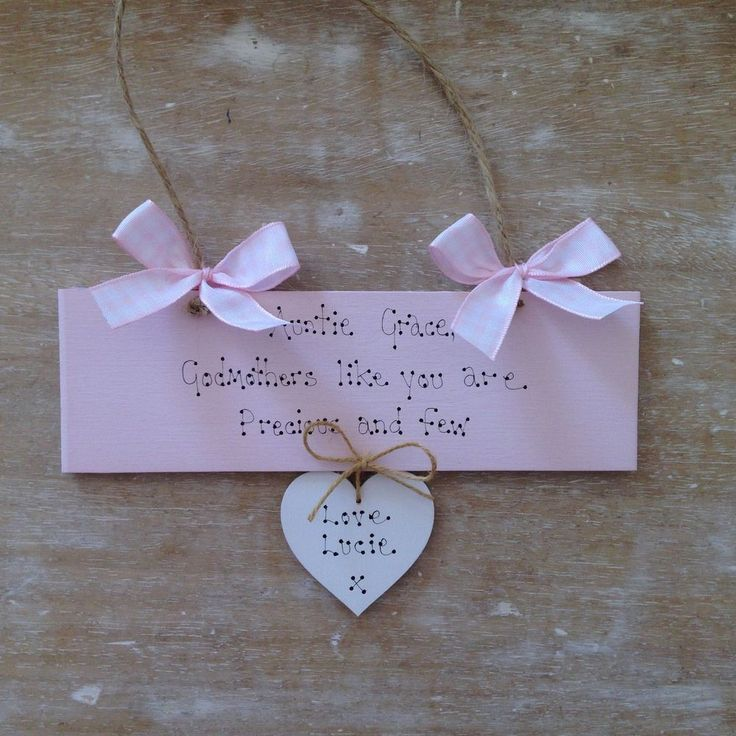 Personalised Shabby Chic Godmother Godparent Christening Newborn Baby Gift Sign. £8.99