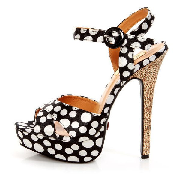 Promise Jerri Black and White Polka Dot Platform Heels ($100) ❤ liked on Polyvore featuring shoes, sandals, black and white platform sandals, criss-cross sandals, black and white sandals, black and white stilettos and black and white polka dot sandals