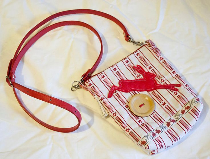 Scandi Bunny / Rabbit Shoulder Handbag Bag in linen and cotton with PVC handles and felt details, red and white by BenjaBlue on Etsy