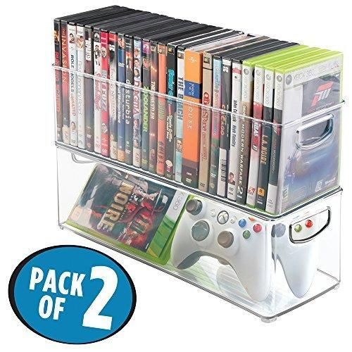 mDesign Household Storage Bin for DVDs PS4 and Xbox Video Games - Pack of 2 Large Clear
