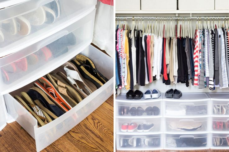 How to Organize your shoes // sandal organizing // cheap closet drawers // shoe organizing // under bed shoe storage products // organizers // shoe storage ideas // underbed storage // small space solutions // www.simplyspaced.com