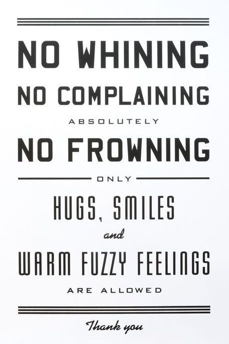 "No Whining Letterpress. hahah, this is what sam says in the bedroom if i start pouting about something. he is like ""ABSOLUTELY NOT."""