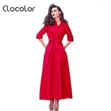 Clocolor лето макси платье женщины Онлайн отложным воротником красный однобортный партия женщины платье Элегантность стиль макси платье(China (Mainland))