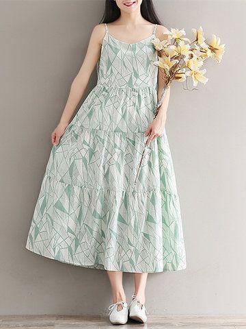 Женщины Спагетти ремень Богемианские печатные высокие талии Макси платья