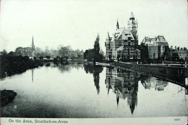 Stratford-upon-Avon, Old Theatre and River Avon, Vintage Postcard