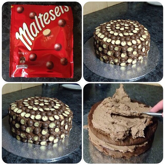 Chocolate mudcake with choc butter cream in centre and around outside with maltesers around entire cake! #cakesbyleticia