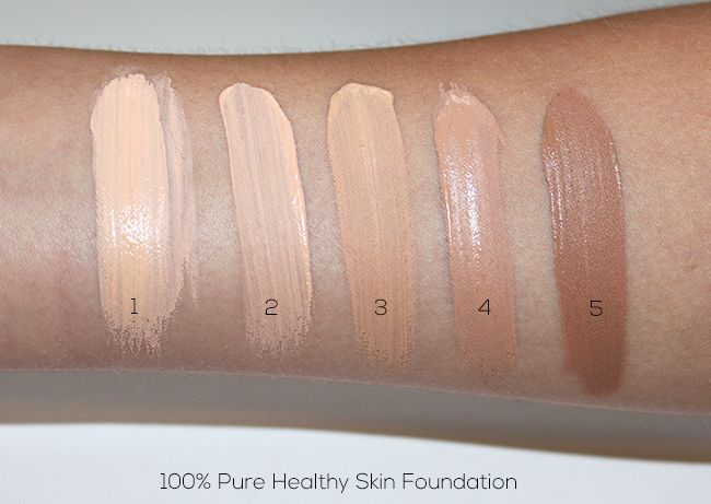 100 Perfect Pure Foundation Swatches 100% PURE Healthy Skin Foundation with Super Fruits Swatches