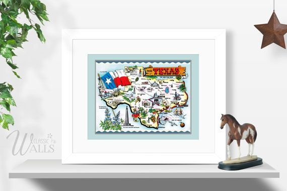 Texas Map  INSTANT DOWNLOAD Vintage Texas Map Postcard Map