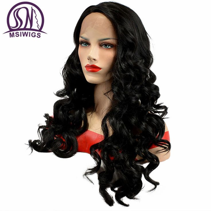 MSIWIGS Body Wavy Crochet Lace Front Wigs Heat Resistant 1B Black Womens Synthetic Wig Long Full Natural Hairline for Party #Affiliate