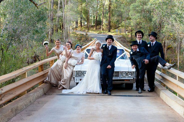 wedding car bridge photo