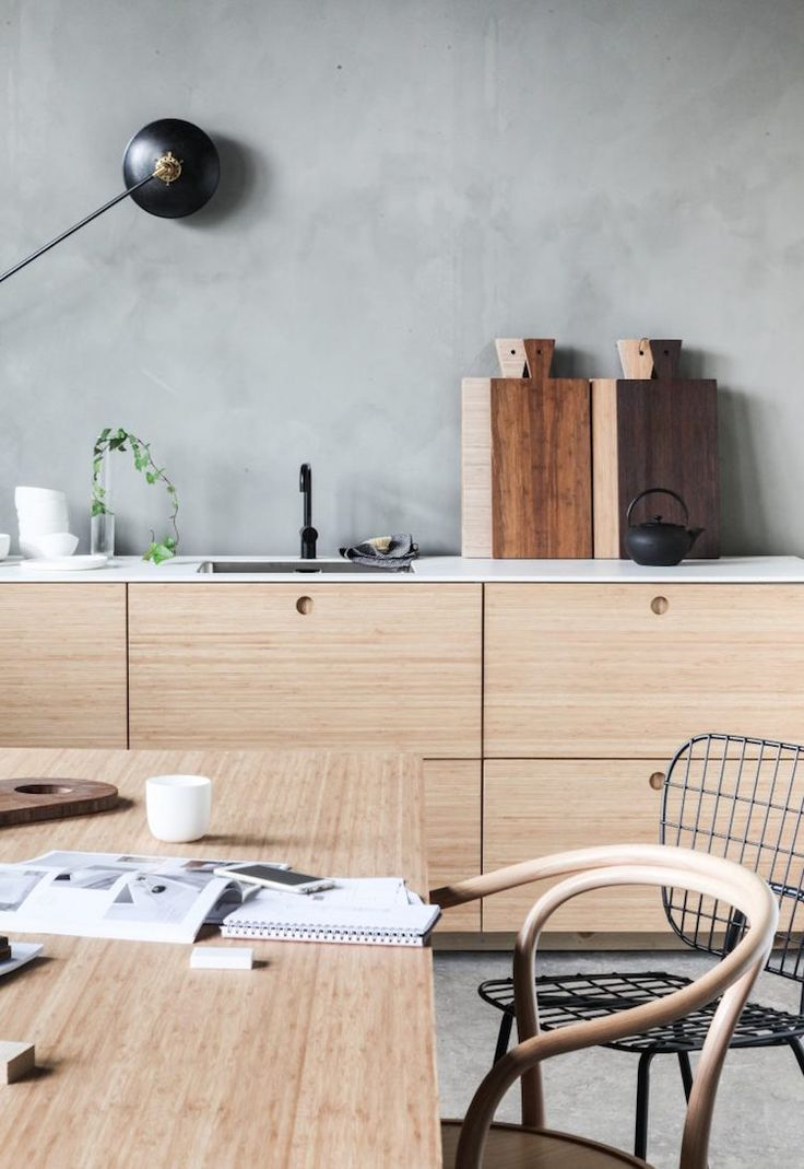 my scandinavian home: Workspace inspiration: wooden kitchen in Norwegian design studio Ask og Eng. Photo: Avenue Design Studio.