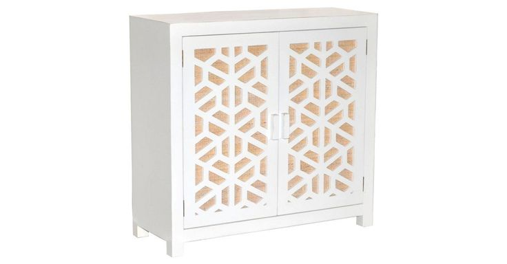 The rattan webbing on the doors of this contemporary media cabinet showcase the exceptional craftsmanship of its intricate fretwork.