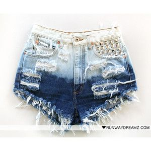DIY Ripped White & Blue, Studded Short Shorts. Cute <3