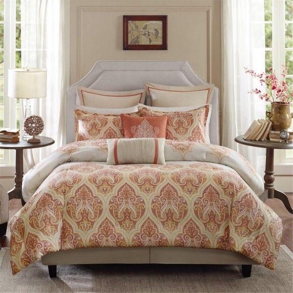 Captivating Harbor House 4 Piece Kalia Comforter Set, Coral