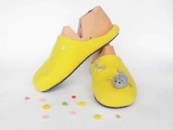 Womens slippers: Felt wool clogs Funny slippers от EcoFootUA - Women slippers, Felt wool clogs, Funny slippers, yellow slippers, Home shoes, felted shoes, Woman slippers, felt wool slippers, Eco friendly slippers, handmade slippers, Felt wool slippers, Women clogs, wool clogs,
