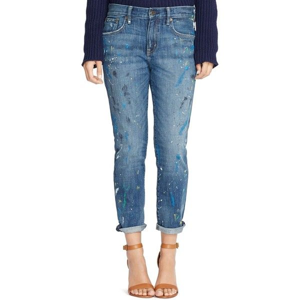 Lauren Ralph Lauren Paint Splatter Boyfriend Jeans in Slather Wash (£65) ❤ liked on Polyvore featuring jeans, slather wash, paint splatter jeans, boyfriend fit jeans, ralph lauren boyfriend jeans, multi colored jeans and colorful jeans