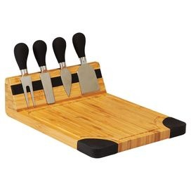 Set of four cheese tools and one cutting board. Features black silicone grips, a recessed groove, and a magnetized strip for holding cheese tools.