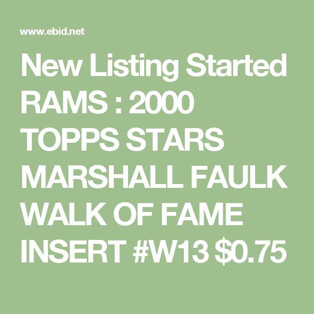 New Listing Started RAMS : 2000 TOPPS STARS MARSHALL FAULK WALK OF FAME INSERT #W13 $0.75