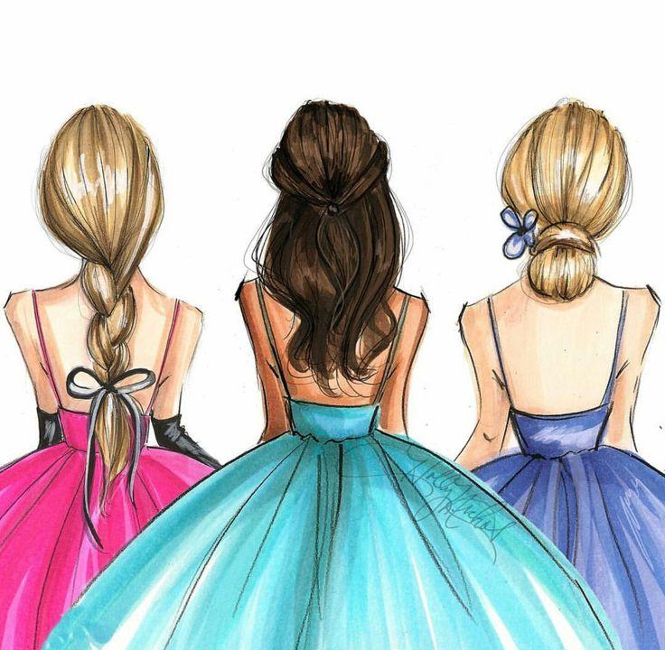 Картинки для срисовки девочек в платьях со спины