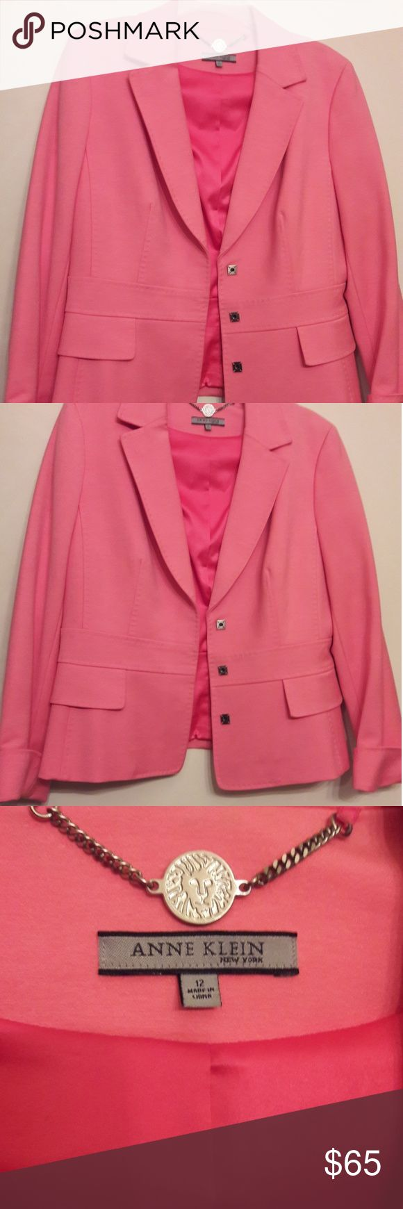 Ann Klein tailored jacket. Silk and cotton blend fabric. Fully lined, hand stitched, cuff sleeves, snap closures, size 12. Purchased at a resale store, never worn, and appears brand new Ann Klein Jackets & Coats Blazers