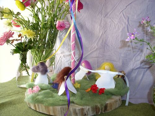 Beltaine. maypole nature table