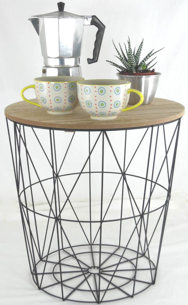 40 This Round Black Wire Table Is Useful As A Bedside A Lamp