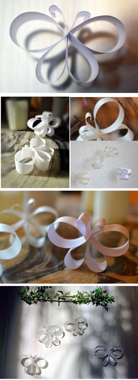 Hé, wie vliegt er? Eenvoudige vlinders gemaakt van papieren strips, goed geschikt …  – Frühjahr in Grün und Weiß
