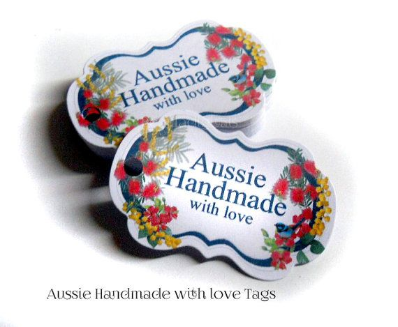 100 Aussie Swing Tags  Handmade with Love  Paper by Beauladigitals