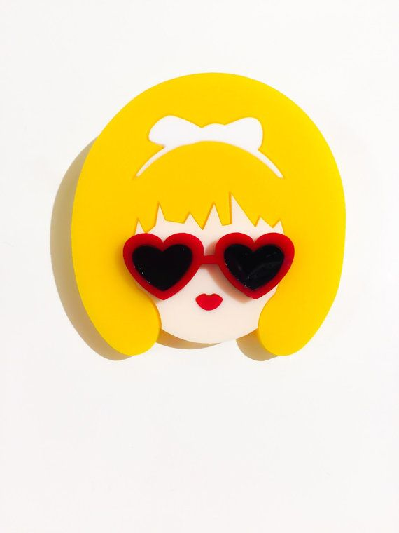 Valley of the Dolls: LOLITA 1 layered acrylic brooch by Baccurelli