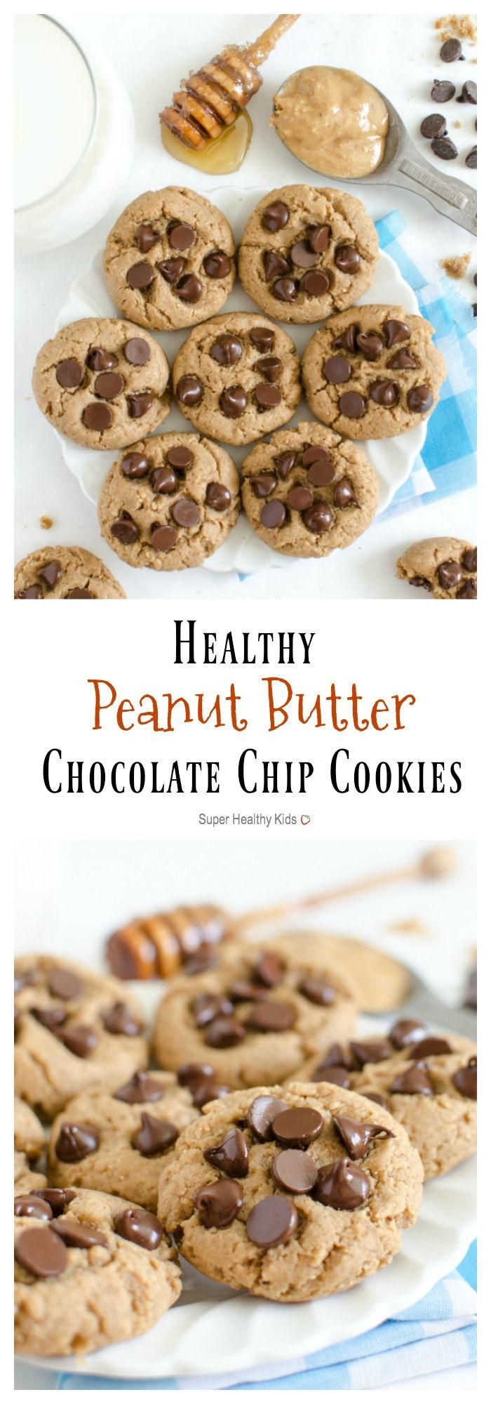 FOOD - Healthy Peanut Butter Chocolate Chip Cookies made with honey, peanut butter, and whole wheat flour are a healthy dessert recipe the whole family will love. http://www.superhealthykids.com/healthy-peanut-butter-chocolate-chip-cookies/