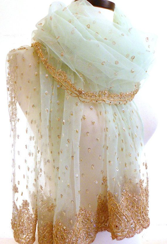 Large Beaded Shawl Teal Scarf Silk Sari Scarf Pale by MiriTextiles, $50.00 luscious teal scarf beaded shawl wedding shawl green wedding forest wedding