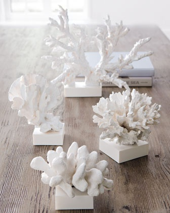 Faux Coral Sculptures - Inspiration from the Sea - Coral Washed Up by the Waves or The White Coral Reef. #Horchow