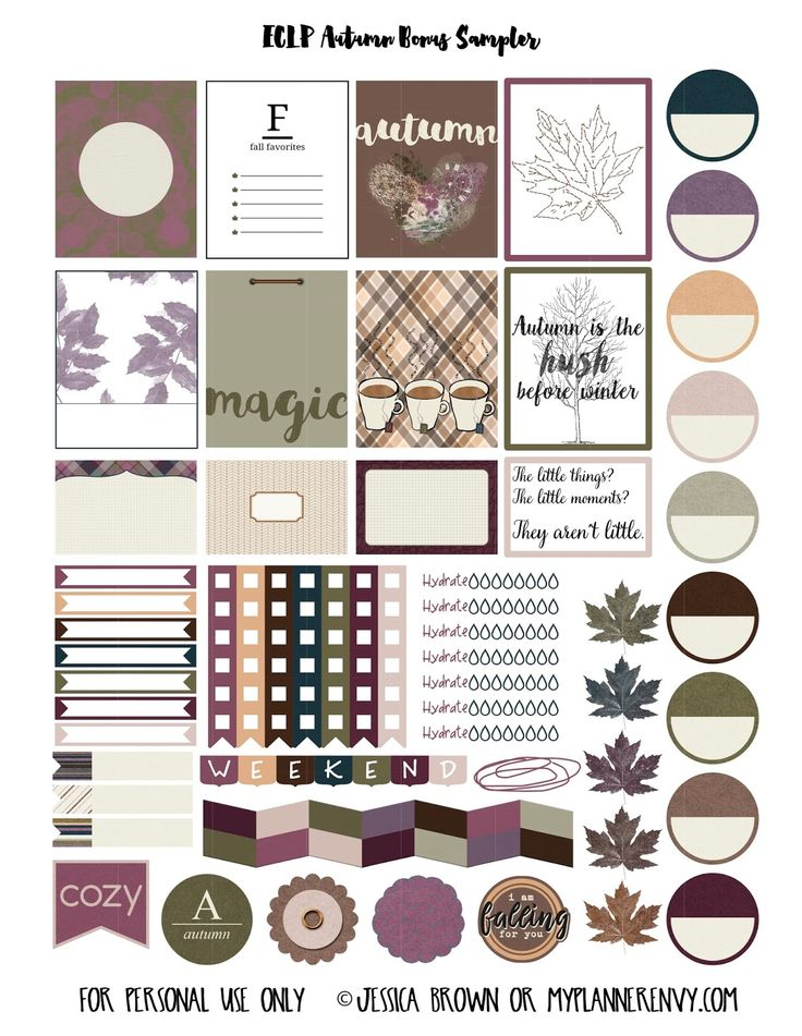 Free Printable Autumn Bonus Sampler Planner Stickers {PDF, JPG and Studio3.  For The Happy Planner and Erin Condren} from myplannerenvy.com