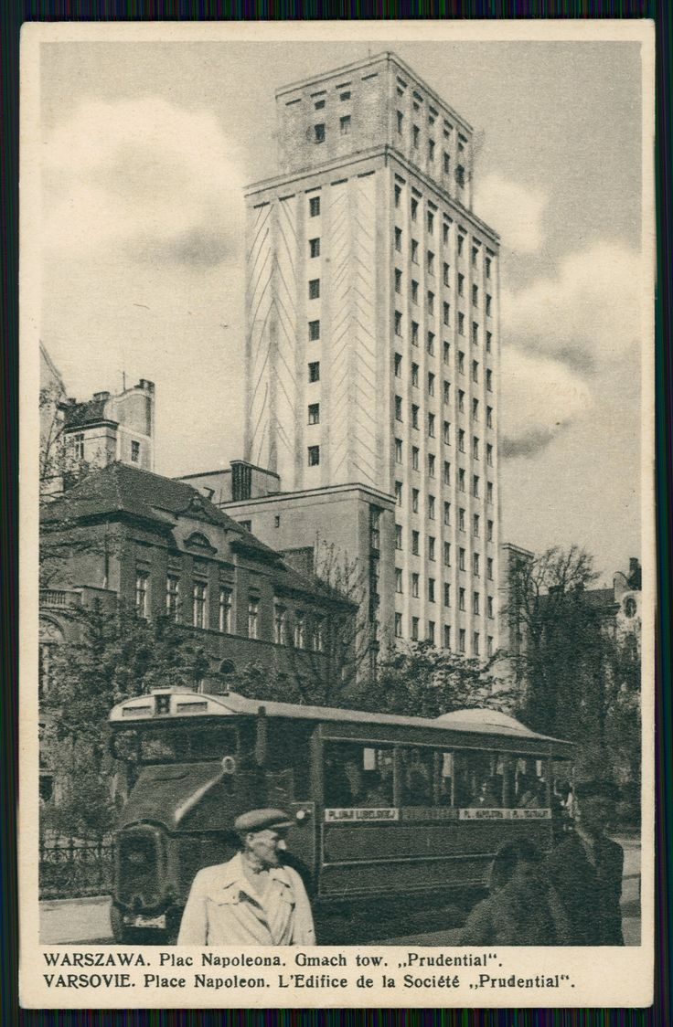 """Pocztówka: Warszawa, plac Napoleona, gmach tow. """"Prudential"""" Varsovie, place Napoleon, l`edifice de la société """"Prudential"""", Wydawnictwo Sztuka (1937)"""