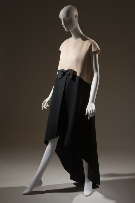 Without the bow, with a slim trouser, pour homme er femme?!  Cristobal Balenciaga Dress Black, white silk gazar 1968, France